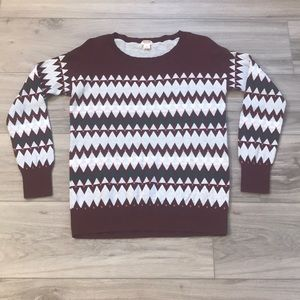 Red Green Pink White Patterned Sweater